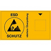 Expiration date indicator label with ESD-symbol
