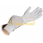 ESD-Gloves polyester - anti-slip grid side and cuffs - 8745.PVCB6