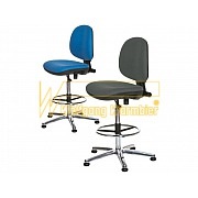 'Economy Chair' - high model with extension in colour blue and grey